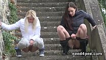 Screenshot Girlfriends  taking off pants to piss in public