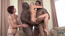 Two mifls fu ck two black guys swallow their cum after interracial sex