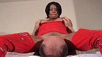 Screenshot Ebony domme  with old white man