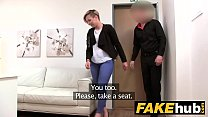 Fake Agent S hort haired tattoo babe banged hard in the office