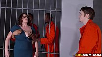 Screenshot Busty Mom Ma ggie Green Takes Two BBCs in a Jail