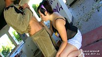 Amateur youn g chubby french brunette hard fucked and jizzed outdoor