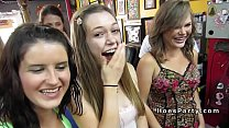 Group of nas ty babes parting in tattoo shop