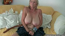 Screenshot Grandma with  big tits masturbates and gets fing...