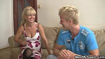 His blonde g f involved into 3some and rides old dick