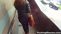 Fucking Glas ses   Not shy to fuck on a stairway