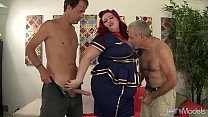 Sexy redhead ed plumper Eliza Allure gets double penetrated