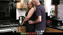 He nails hot  blonde fatty in kitchen