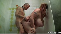 Fat bitch su cking cock in the shower