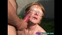 Granny In Gl asses Face Showere With Cum