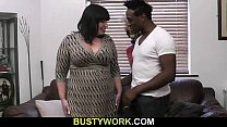Big black co ck is filling her fat hole