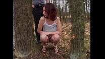 Beautiful an d busty brunette buggered in the wood