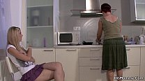 Screenshot Mom and girl  lesbian action on the kitchen