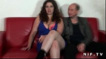Chubby frenc h amateur brunette hard fucked in front of her cuckhold husband