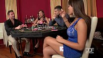 Two Incredib le babes fucked hard in the casino