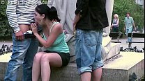 Daring PUBLI C sex threesome by a famous statue in the middle of the city