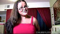 Cute chubby  honey enjoys a hard fucking and cum all over her nice big tits