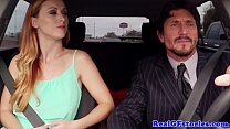 Cheating red head wife in stockings swallows