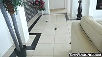 Naughty baby sitter busted fucks her clients big cock
