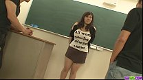 Plump and bu sty student fucked by two hung and horny teachers