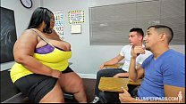 Screenshot Busty Black  BBW Teacher Fucks 2 Hung Stud Students