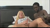 Very sexy bl ond shemale rides a black cock
