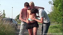 Young hot bl onde teen girl is fucked by 2 teen guys in the middle of a street