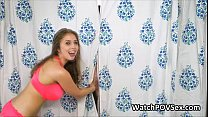 Bigtit almos t caught fucking in shower