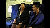 Brunette bea uty wearing stewardess uniform gets fucked on a plane