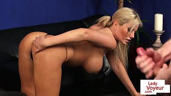 cover video Busty Voyeur Brit Strips And Tease Giving Joi