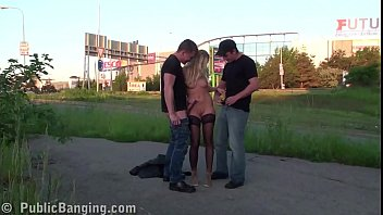 thumb Cute Blonde Public Street Sex Gang Bang Threesome With 2 Guys
