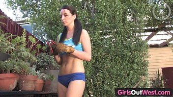 thumb Girls Out West Busty Brunette Rubs And Showers Her Pussy