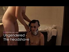 Lesbian Girl Shaves Her Nude Slut Head Smooth Bald-pic7504