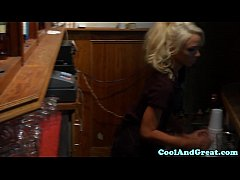 thumb petite pounded waitress babe fucked in office