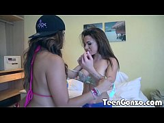 thumb teengonzo two teens pleasuring one lucky guy in a hotel room