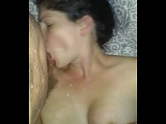 thumb wife squirting her milk all over husbands cock