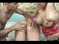 thumb anal threesome with asian lass getting thrashed roughly